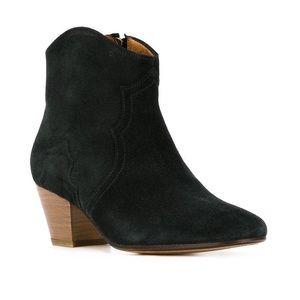 Isabel Marant Jet Black Suede Dicker Ankle Boots